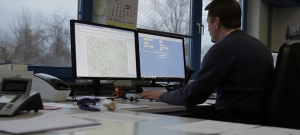 fleet manager working at computer