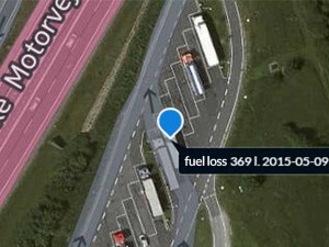 fuel theft identification print screen from framelogic solution