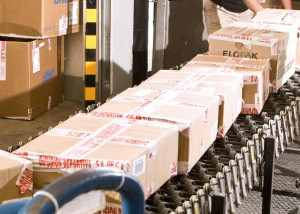 packages on a distribution center