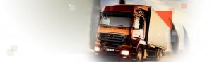 orange truck travelling