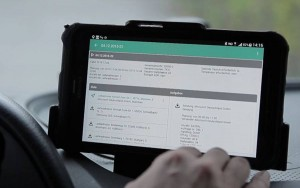 tablet in truck with detail of arealcontrol service