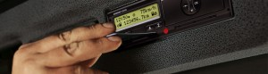driver inserting card on the tachograph