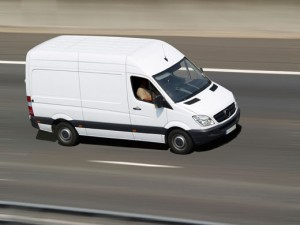 white van on the road