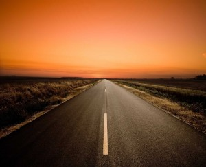 empty road at sunset